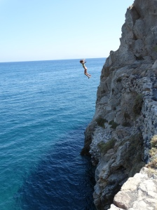 Cliff jumping at Kamari